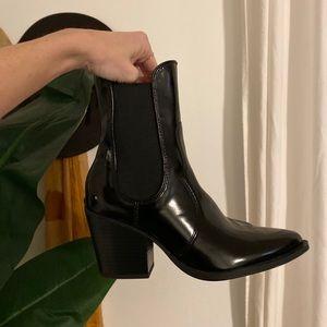 Zara black patent leather boots! Size 6